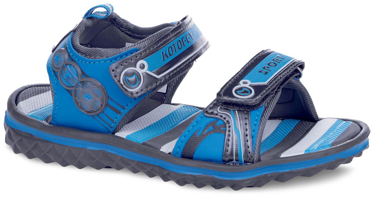 Сандалии для мальчика. 525007525007-11Яркие сандалии от Котофей придутся по душе вашему мальчику. Модель, выполненная из искусственной кожи и текстиля, оформлена сбоку декоративными нашивками. Внутренняя поверхность выполнена из текстиля. Ремешки с застежками-липучками, оформленные фирменными логотипами, названием бренда и надписью Sport, надежно зафиксируют модель на ноге. Стелька из EVA-материала комфортна при движении. Ярлычок на заднике облегчает обувание модели. Удобная эластичная подошва хорошо гнется. Рифление на подошве обеспечивает сцепление с любой поверхностью. Практичные и стильные сандалии займут достойное место в гардеробе вашего ребенка.