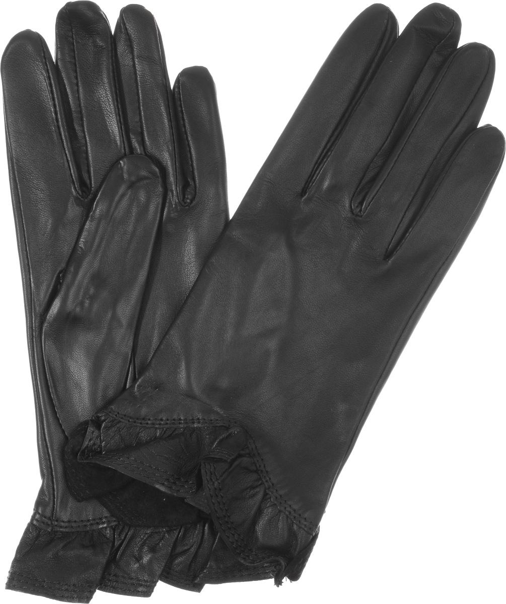 ПерчаткиIS01818Стильные женские перчатки Eleganzza выполнены из чрезвычайно мягкой и приятной на ощупь натуральной кожи ягненка, а их подкладка - из 100% шелка. Модель декорирована кожаной оборкой по краю манжеты. В настоящее время перчатки являются неотъемлемой принадлежностью одежды, вместе с этим аксессуаром вы обретаете женственность и элегантность. Они станут завершающим и подчеркивающим элементом вашего стиля и неповторимости.