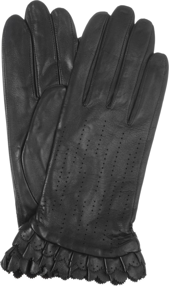 ПерчаткиIS075Стильные женские перчатки Eleganzza выполнены из необыкновенно мягкой и приятной на ощупь кожи. На лицевой стороне модель декорирована перфорацией. На манжете - декоративные оборки с перфорацией. Тыльная сторона дополнена резинкой для оптимальной посадки изделия на руке. Подкладка выполнена из шелка. Перчатки станут идеальным аксессуаром, дополняющим ваш стиль и неповторимость в современном мире моды.