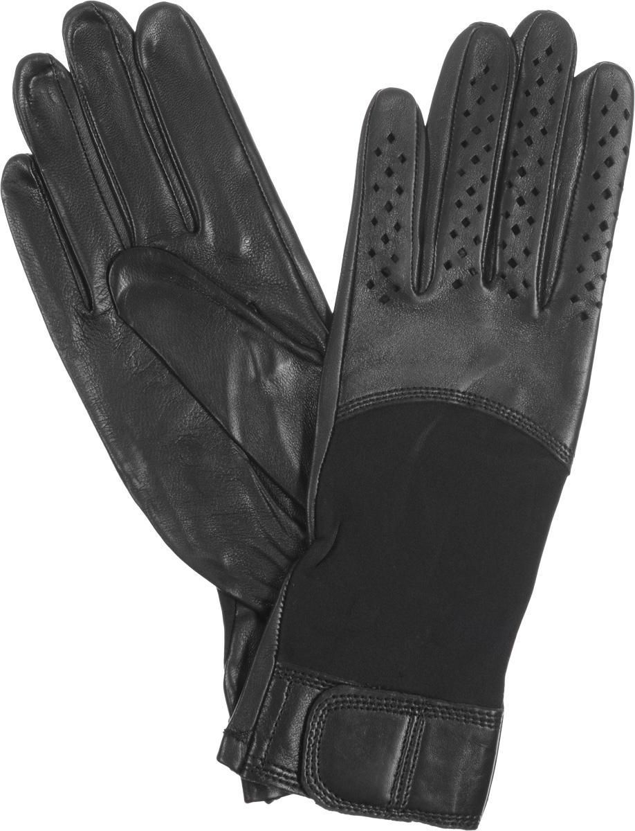 IS018Стильные женские перчатки Eleganzza выполнены из необыкновенно мягкой и приятной на ощупь кожи. На лицевой стороне перчатки - вставка из эластичного спандекса. На манжете с внешней стороны - декоративный ремень на липучке. Отделка пальцев - перфорация. Тыльная сторона дополнена резинкой для оптимальной посадки модели на руке. Перчатки станут идеальным аксессуаром, дополняющим ваш стиль и неповторимость в современном мире моды.