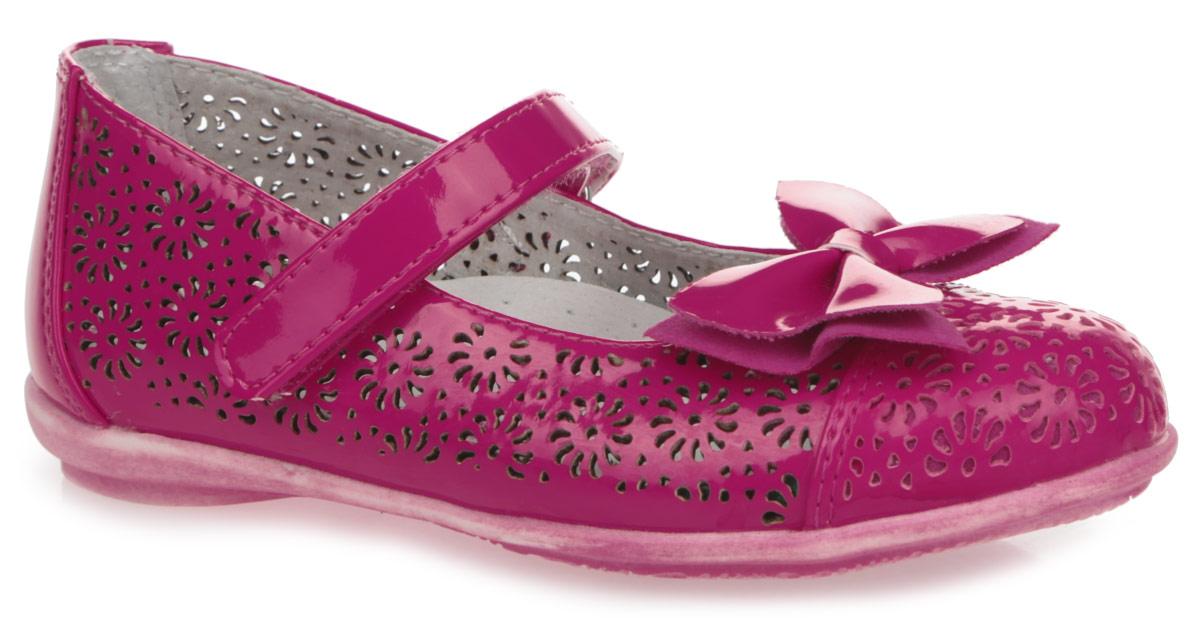 Туфли333003-21Прелестные туфли от Котофей очаруют вашу дочурку с первого взгляда! Модель выполнена из искусственной лакированной кожи и декорирована перфорацией, на мысе - очаровательным бантиком. Перфорация обеспечивает отличную вентиляцию, позволяет ногам ребенка дышать. Ремешок на застежке-липучке гарантирует надежную фиксацию обуви на ноге. Стелька EVA с поверхностью из натуральной кожи обеспечивает максимальный комфорт. Супинатор с перфорацией на стельке отвечает за правильное положение ноги ребенка при ходьбе, предотвращает плоскостопие. Рифление на подошве обеспечивает идеальное сцепление с любой поверхностью. Удобные туфли - незаменимая вещь в гардеробе каждой девочки.
