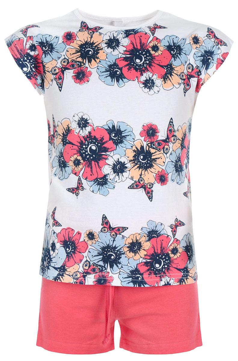 Комплект одежды162116Комплект для девочки PlayToday, состоящий из футболки и шорт, идеально подойдет вашей доченьке. Изготовленный из эластичного хлопка, он необычайно мягкий и приятный на ощупь, не сковывает движения и позволяет коже дышать, не раздражает даже самую нежную и чувствительную кожу ребенка, обеспечивая ему наибольший комфорт. Футболка стильной конструкции со спущенным плечом, цельнокроеными короткими рукавами и круглым вырезом горловины оформлена яркими цветами и бабочками. Шорты однотонные на талии имеют эластичную резинку с затягивающимся шнурком снаружи, благодаря чему они не сдавливают живот ребенка и не сползают. Оригинальный дизайн и модная расцветка делают этот комплект незаменимым предметом детского гардероба. В нем вашей принцессе будет комфортно и уютно и она всегда будет в центре внимания!