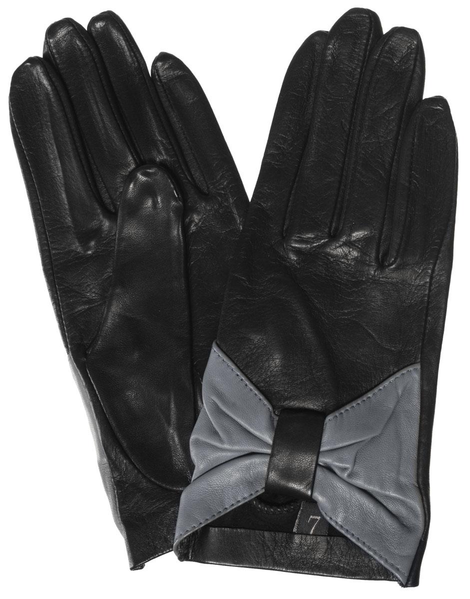 Перчатки женские. IS48IS48Стильные женские перчатки Eleganzza выполнены из чрезвычайно мягкой и приятной на ощупь натуральной кожи. Низ манжеты на лицевой стороне собран в оригинальный бант контрастного цвета. В настоящее время перчатки являются неотъемлемой принадлежностью одежды, вместе с этим аксессуаром вы обретаете женственность и элегантность. Они станут завершающим и подчеркивающим элементом вашего стиля и неповторимости.