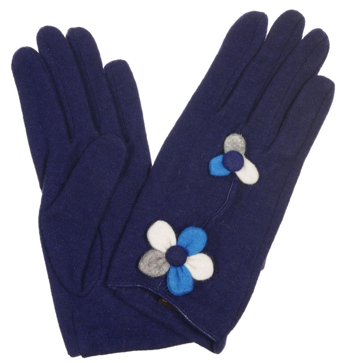 ПерчаткиLB-PH-31Элегантные женские перчатки Labbra станут великолепным дополнением вашего образа и защитят ваши руки от холода и ветра во время прогулок. Перчатки выполнены из плотного шерстяного трикотажа. Модель оформлена декоративным цветами на лицевой стороне. Такие перчатки будут оригинальным завершающим штрихом в создании современного модного образа, они подчеркнут ваш изысканный вкус и станут незаменимым и практичным аксессуаром.
