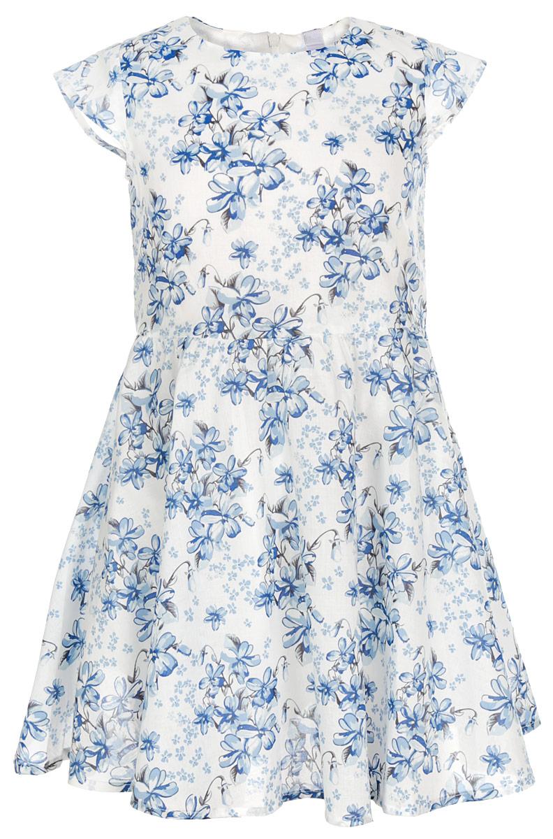 Платье для девочки. 162104162104Нарядное платье для девочки PlayToday прекрасно подойдет вашей маленькой принцессе. Платье выполнено из натурального хлопка, оно мягкое и приятное на ощупь, не сковывает движения и позволяет коже дышать, обеспечивая наибольший комфорт. Платье с круглым вырезом горловины имеет скрытую застежку-молнию на спинке, что помогает с легкостью переодеть ребенка. Платье имеет подкладку. От линии талии заложены складочки, придающие изделию воздушность. Линия талии спереди дополнена пояском, завязывающимся в бант. По всей поверхности модель оформлена цветочным принтом. Такое платье послужит отличным дополнением к детскому гардеробу. В нем ваша маленькая модница будет чувствовать себя комфортно и всегда будет в центре внимания!