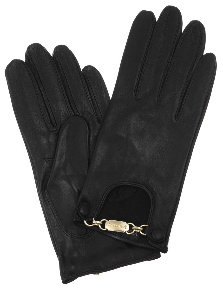 Перчатки женские. HP038HP038Стильные женские перчатки Eleganzza помогут правильно расставить модные акценты в вашем образе. Они выполнены из мягкой и приятной на ощупь кожи ягненка. На внешней стороне - декоративный вырез с металлической фурнитурой золотистого цвета. Фурнитура крепится на кнопки, обтянутые кожей. Такие перчатки станут идеальным аксессуаром, дополняющим ваш стиль и неповторимость.