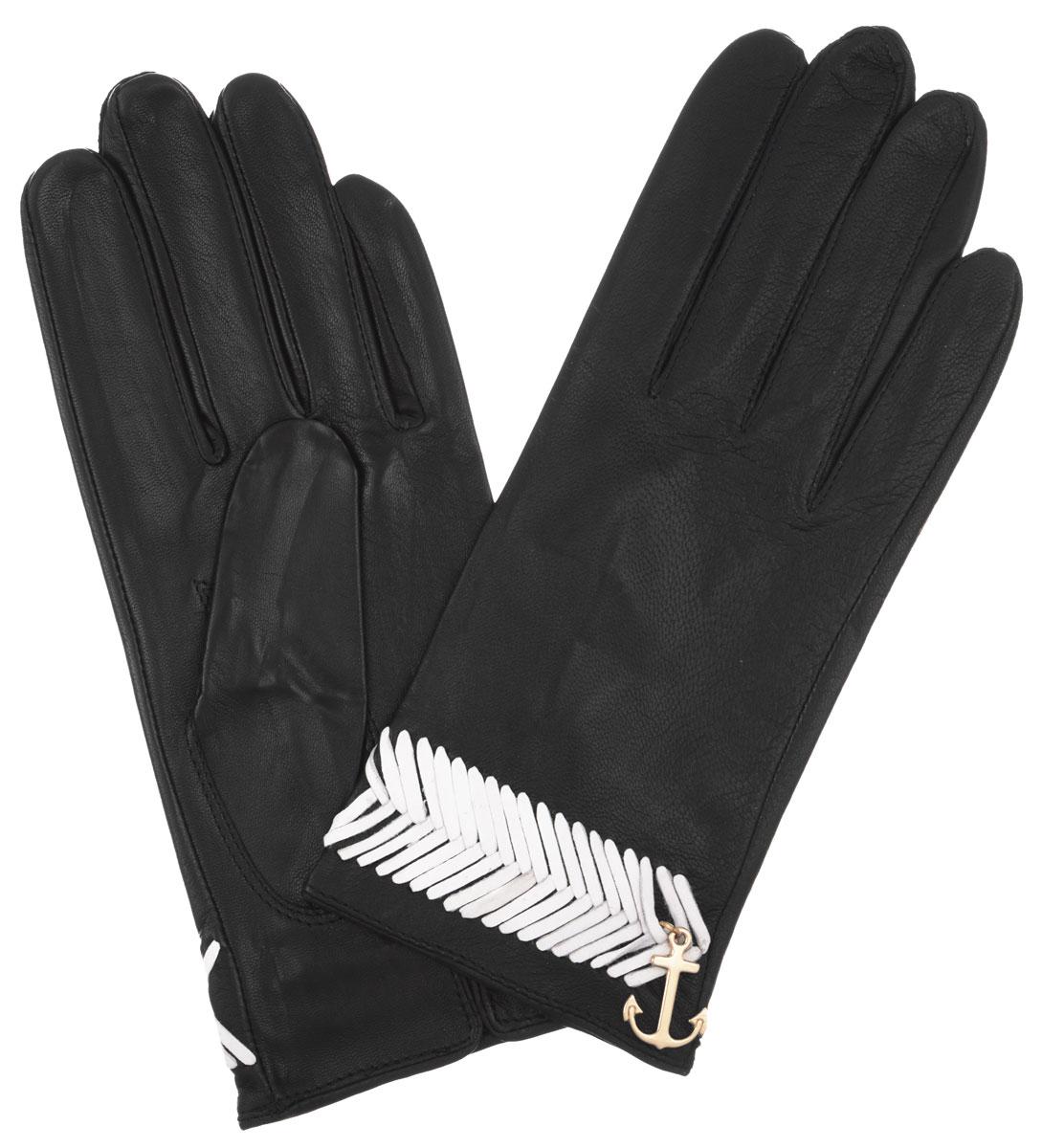Перчатки женские. HP290HP290Стильные женские перчатки Eleganzza не только защитят ваши руки, но и станут великолепным украшением. Они выполнены из мягкой и приятной на ощупь кожи. Декорированы шнурочным плетением и подвеской в виде якоря. На внутренней стороне манжеты - небольшой разрез. Такие перчатки станут идеальным аксессуаром, дополняющим ваш стиль и неповторимость.