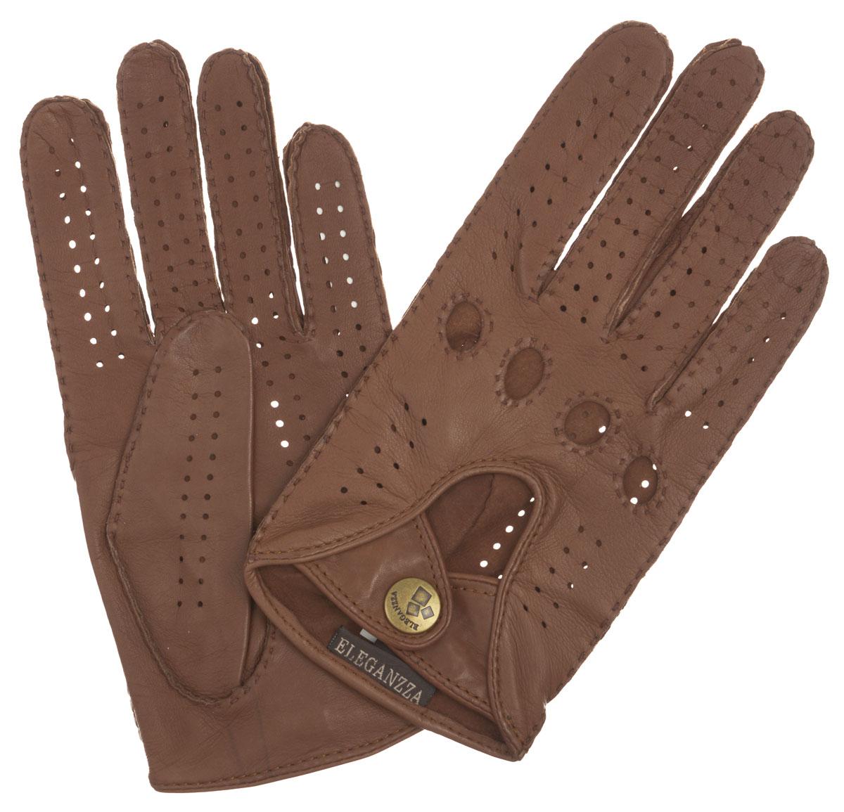 HS011WСтильные женские перчатки Eleganzza помогут правильно расставить модные акценты в вашем образе. Они выполнены из мягкой и приятной на ощупь кожи. Модель декорирована перфорацией на лицевой и ладонной стороне, вырезами под косточки пальцев. На лицевой стороне декоративный вырез и два ремешка на кнопке. Такие перчатки станут идеальным аксессуаром, дополняющим ваш стиль и неповторимость.