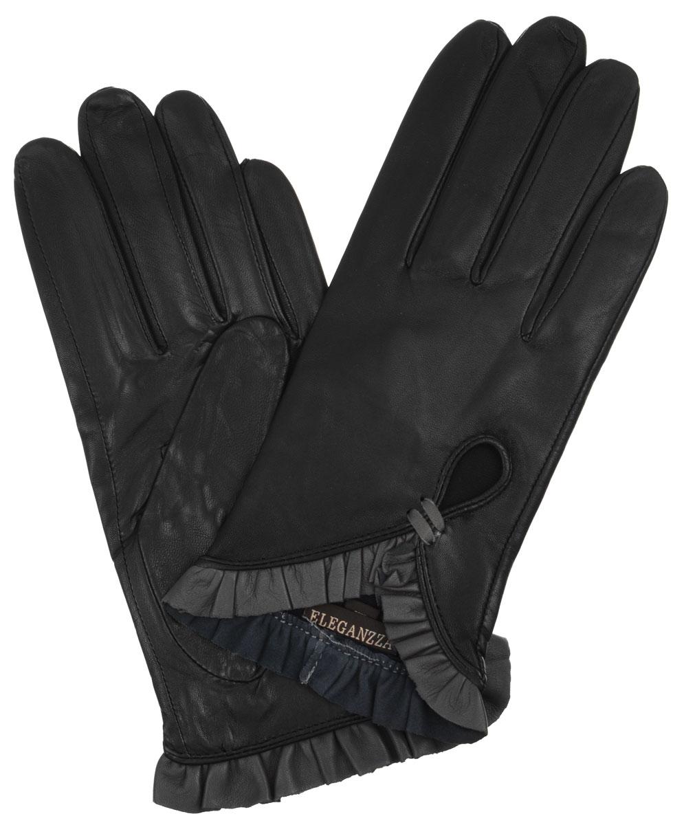 Перчатки женские. IS501IS501Стильные женские перчатки Eleganzza не только защитят ваши руки от холода, но и станут великолепным украшением. Они выполнены из мягкой и приятной на ощупь кожи. Модель оформлена декоративными кожаными рюшами на манжетах и вырезом на лицевой стороне. Такие перчатки станут идеальным аксессуаром, дополняющим ваш стиль и неповторимость.