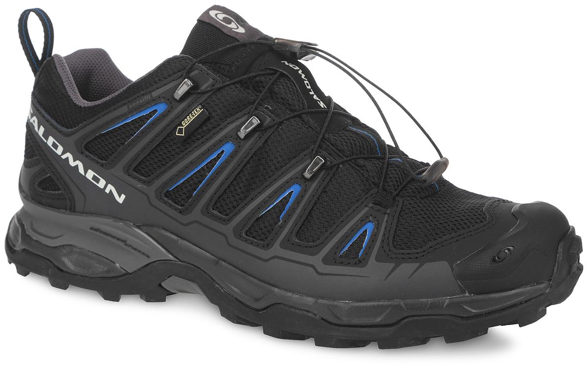 Кроссовки мужские для трекинга X Ultra GTX. 327075327075Высокотехнологичные мужские трекинговые кроссовки X Ultra GTX от Salomon прекрасно подойдут для быстрых походов и различных видов рельефа. Верх модели выполнен из водонепроницаемого текстиля со вставками из натуральной и синтетической кожи. Конструкция верха Sensifit обеспечивает надежный обхват ноги. Защита от грязи Mud Guard. Защитная резиновая накладка на мыске надолго сохранит опрятный вид и позволят продлить срок службы модели. Кроссовки оснащены системой быстрой шнуровки Quicklace, а также кармашком для шнурков. Задник дополнен текстильной петлей для легкого обувания. Внутренняя мембрана Gore-Tex Performance Comfort отвечает за дополнительную защиту от влаги. Эргономичная стелька Ortholite с прослойкой ЭВА для амортизации и комфорта. Промежуточная подошва EVA обеспечивает дополнительную амортизацию. Не оставляющая следов подошва Contagrip со специальным рисунком протектора, разработанная для ходьбы по пересеченной местности, обеспечит надежное сцепление на любых...