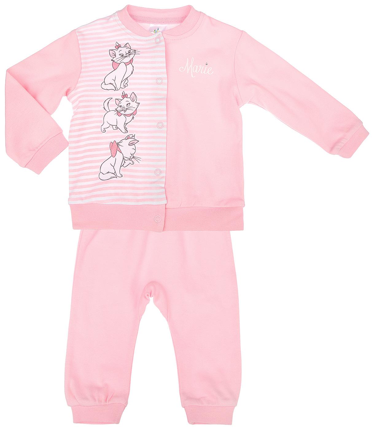 Комплект одежды668801Комплект для девочки PlayToday Disney Baby, состоящий из кофточки и штанишек на широком поясе, идеально подойдет вашей маленькой принцессе. Изготовленный из натурального хлопка, он необычайно мягкий и приятный на ощупь, не сковывает движения ребенка и позволяет коже дышать, не раздражает даже самую нежную и чувствительную кожу малышки, обеспечивая наибольший комфорт. Кофточка с длинными рукавами застегивается на металлические кнопки по всей длине, которые позволяют с легкостью переодеть ребенка. Воротник, рукава и низ изделия дополнены эластичными резинками. Оформлено изделие принтом в полоску, а также изображением кошечки Marie. Украшена кофточка мелкими стразами и блестками. Штанишки, благодаря широкому эластичному поясу, не сдавливают животик ребенка и не сползают, обеспечивая ему наибольший комфорт, идеально подходят для ношения с подгузником и без него. Снизу брючины дополнены неширокими трикотажными манжетами, не пережимающими ножку. В таком комплект ваша...