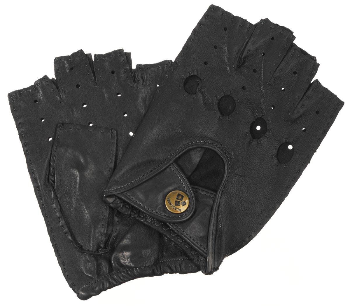 HS012MМитенки Eleganzza изготовлены из натуральной кожи ягненка. Декорирована модель перфорированным узором, вырезами под косточки пальцев и двумя ремешками на кнопке. На ладонной стороне изделия манжеты собраны на резинку. В отличие от обычных кожаных перчаток, в них рука не теряет гибкости и подвижности, пальцы столь же чувствительны и точны, руку можно сжать в кулак беспрепятственно.