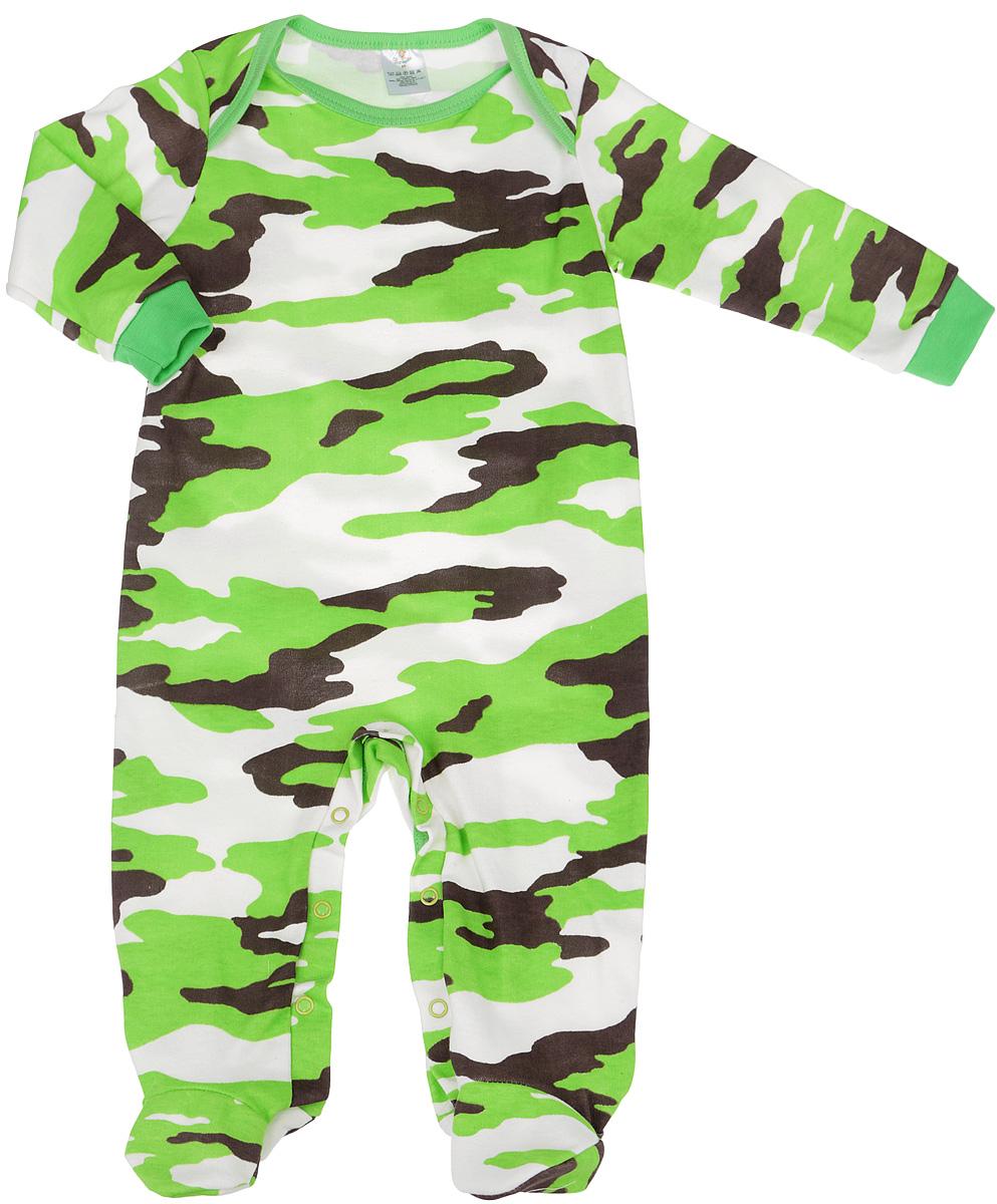 Комбинезон для мальчиков. 61646164Комбинезон для мальчика КотМарКот - удобный и практичный вид одежды для малыша, который идеально подходит для сна и отдыха. Комбинезон выполнен из натурального хлопка, благодаря чему он очень мягкий и приятный на ощупь, не раздражает нежную кожу ребенка и хорошо вентилируется. Комбинезон с длинными рукавами и закрытыми ножками имеет застежки-кнопки на ластовице, которые помогают легко переодеть младенца или сменить подгузник. Манжеты рукавов выполнены эластичной резинкой. Вырез горловины дополнен бейкой. Изделие оформлено узором в стиле милитари. Комфортный и уютный комбинезон станет незаменимым дополнением к гардеробу вашего ребенка. Изделие полностью соответствует особенностям жизни младенца в ранний период, не стесняя и не ограничивая его в движениях.