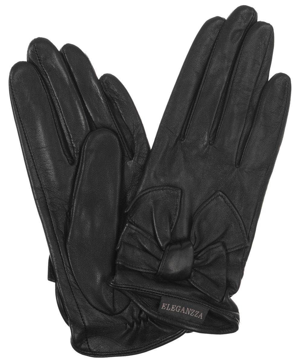 Перчатки женские. IS04832IS04832Стильные женские перчатки Eleganzza не только защитят ваши руки от холода, но и станут великолепным украшением. Они выполнены из мягкой и приятной на ощупь кожи ягненка. Подкладка выполнена из искусственного шелка. Модель оформлена декоративным кожаным бантом на лицевой стороне. Тыльная сторона дополнена резинкой для оптимальной посадки модели на руке. Такие перчатки станут идеальным аксессуаром, дополняющим ваш стиль и неповторимость.