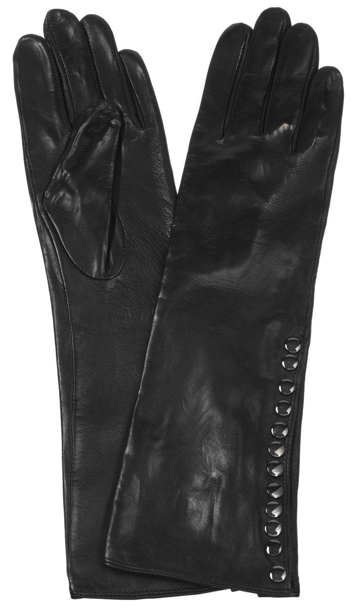 IS08007Элегантные удлиненные женские перчатки Eleganzza станут великолепным дополнением вашего образа и защитят ваши руки от холода и ветра во время прогулок. Перчатки выполнены из натуральной кожи ягненка. Модель декорирована металлическими кнопками, четыре верхних рабочие. Такие перчатки будут оригинальным завершающим штрихом в создании современного модного образа, они подчеркнут ваш изысканный вкус и станут незаменимым и практичным аксессуаром.