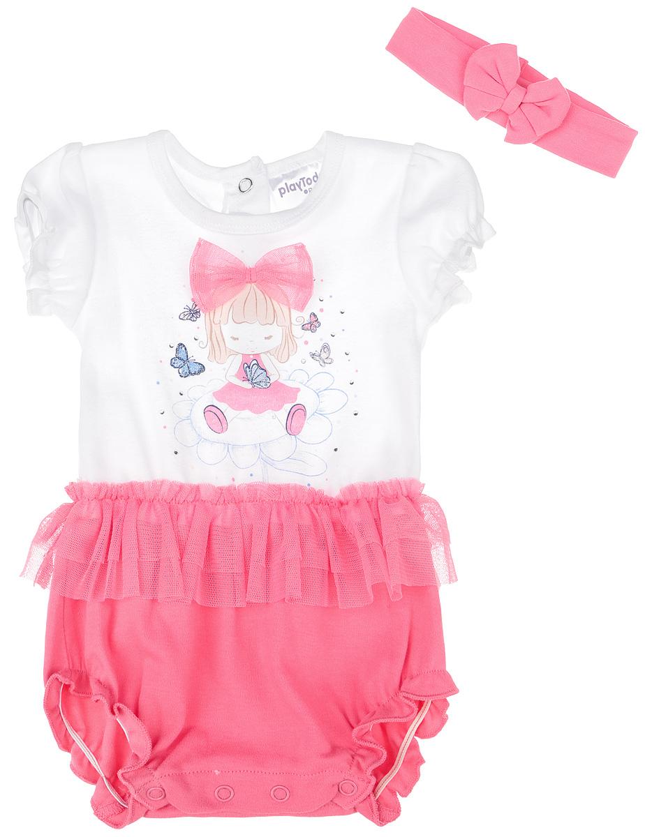 PlayToday Комплект для девочки Baby: боди-футболка, повязка. 168805