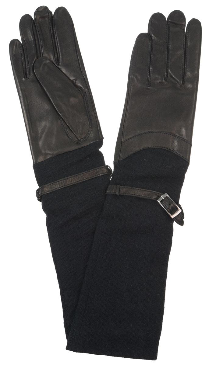 Длинные перчаткиHP00174Элегантные удлиненные женские перчатки Eleganzza станут великолепным дополнением вашего образа и защитят ваши руки от холода и ветра во время прогулок. Перчатки выполнены из натуральной кожи ягненка. Модель дополнена длинными трикотажными манжетами с декоративным ремешком. Такие перчатки будут оригинальным завершающим штрихом в создании современного модного образа, они подчеркнут ваш изысканный вкус и станут незаменимым и практичным аксессуаром.