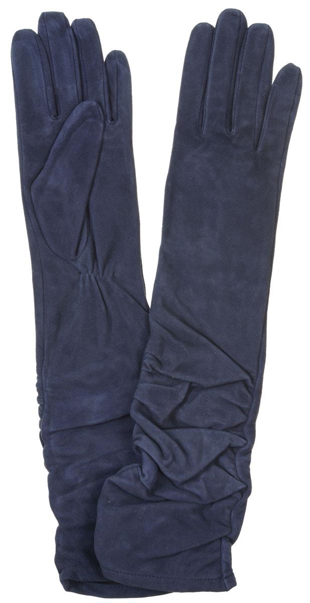 Перчатки женские. IS02010IS02010Элегантные удлиненные женские перчатки Eleganzza станут великолепным дополнением вашего образа и защитят ваши руки от холода и ветра во время прогулок. Перчатки выполнены из натурального велюра. Модель оформлена декоративной сборкой на манжете. Подкладка из натурального шелка. Такие перчатки будут оригинальным завершающим штрихом в создании современного модного образа, они подчеркнут ваш изысканный вкус и станут незаменимым и практичным аксессуаром.