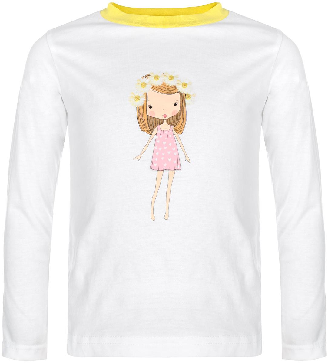 15562Стильная футболка с длинным рукавом для девочки КотМарКот идеально подойдет вашей моднице. Изготовленная из натурального хлопка, она мягкая и приятная на ощупь, не сковывает движения и позволяет коже дышать, не раздражает даже самую нежную и чувствительную кожу ребенка, обеспечивая наибольший комфорт. Футболка прямого кроя с длинными рукавами и круглым вырезом горловины оформлена изображением очаровательной девочки с венком на голове, украшена блестками. Вырез горловины дополнен трикотажной эластичной резинкой. Современный дизайн и модная расцветка делают эту футболку стильным предметом детского гардероба. В ней ваша принцесса будет чувствовать себя уютно и комфортно, и всегда будет в центре внимания!