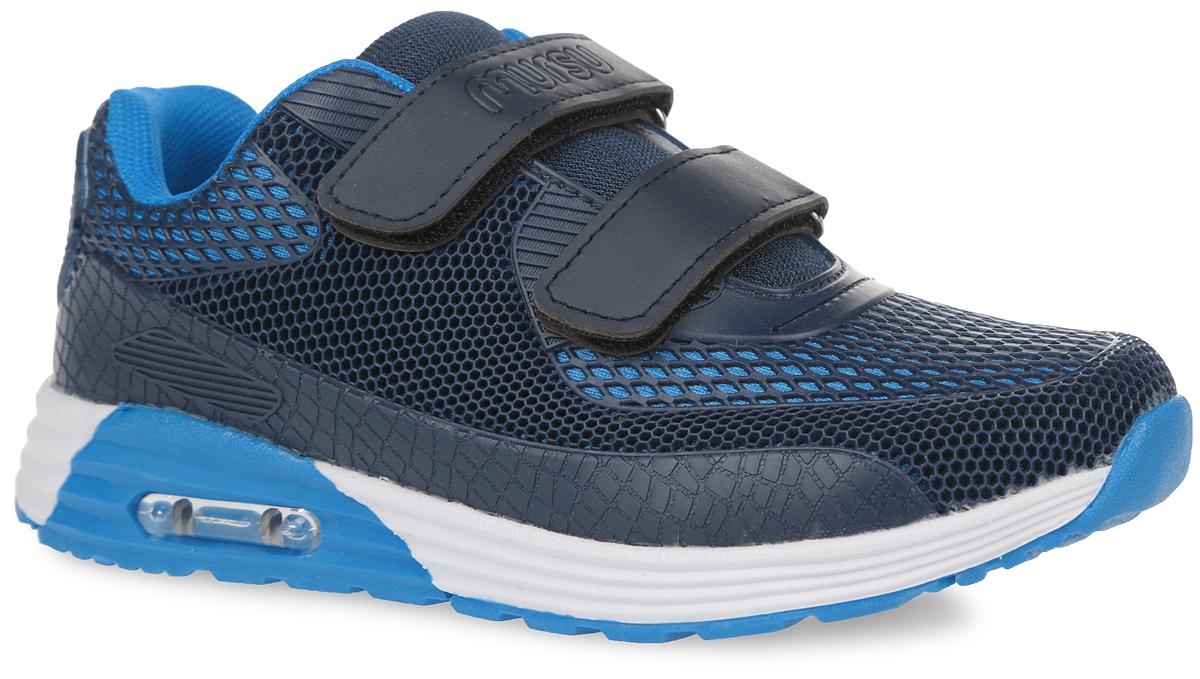 Кроссовки для мальчика. 100026100026Стильные кроссовки от Mursu прекрасно подойдут для активного отдыха вашего мальчика на открытом воздухе. Модель выполнена из текстиля и искусственной кожи. Обувь оформлена геометрической перфорацией, на верхнем ремешке - тиснением в виде названия бренда, на подошве - прозрачной вставкой из пластика. Ремешки на застежках-липучках надежно зафиксируют ногу вашего мальчика. Съемная стелька EVA с поверхностью из натуральной кожи гарантирует комфорт при движении. Стелька оснащена супинатором, который отвечает за правильное формирование детской стопы. Подошва с протектором обеспечивает отличное сцепление с любыми поверхностями. Удобные кроссовки придутся по душе вам и вашему ребенку!