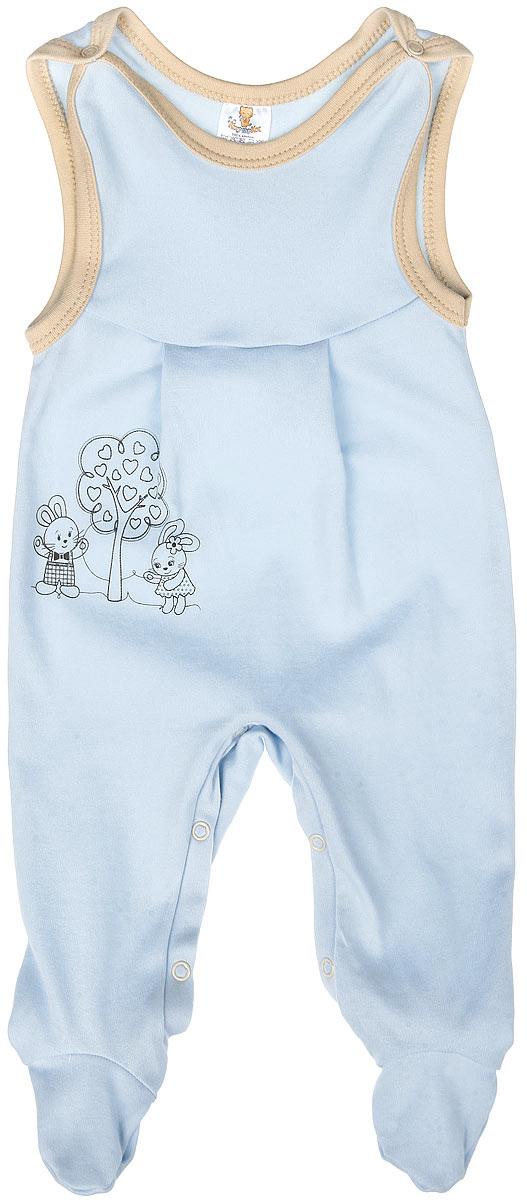 Ползунки3388Полукомбинезон КотМарКот - удобный и практичный вид одежды для ребенка, который идеально подходит для сна и отдыха. Полукомбинезон выполнен из натурального хлопка, благодаря чему он очень мягкий и приятный на ощупь, не раздражает нежную кожу малыша и хорошо вентилируется. Полукомбинезон с широкими бретелями на кнопках и закрытыми ножками имеет застежки-кнопки на ластовице до щиколоток, которые помогают легко переодеть младенца или сменить подгузник. Вырез горловины и проймы дополнены мягкой контрастной бейкой. Изделие оформлено очаровательным рисунком зайчиков, стоящих у дерева. Комфортный и уютный комбинезон станет незаменимым дополнением к гардеробу вашего малыша. Изделие полностью соответствует особенностям жизни младенца в ранний период, не стесняя и не ограничивая его в движениях.
