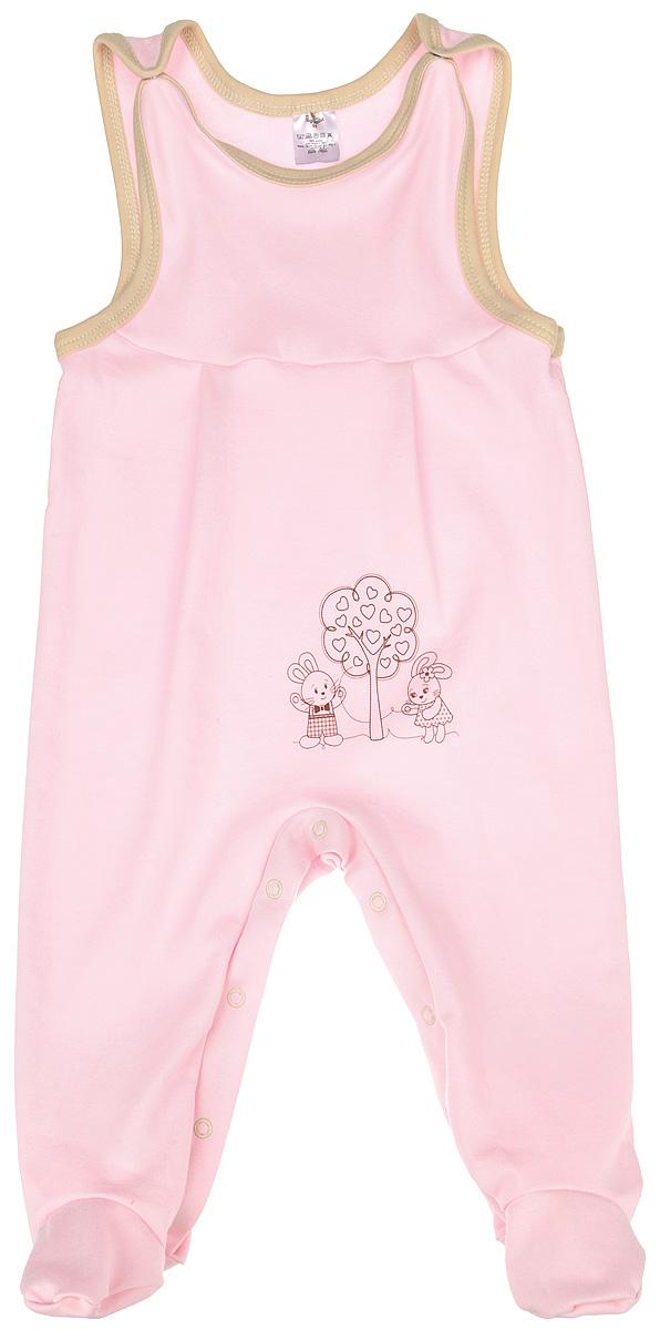 Ползунки3389Полукомбинезон КотМарКот - удобный и практичный вид одежды для ребенка, который идеально подходит для сна и отдыха. Полукомбинезон выполнен из натурального хлопка, благодаря чему он очень мягкий и приятный на ощупь, не раздражает нежную кожу малыша и хорошо вентилируется. Полукомбинезон с широкими бретелями на кнопках и закрытыми ножками имеет застежки-кнопки на ластовице до щиколоток, которые помогают легко переодеть младенца или сменить подгузник. Вырез горловины и проймы дополнены мягкой контрастной бейкой. Изделие оформлено очаровательным рисунком зайчиков, стоящих у дерева. Комфортный и уютный комбинезон станет незаменимым дополнением к гардеробу вашего малыша. Изделие полностью соответствует особенностям жизни младенца в ранний период, не стесняя и не ограничивая его в движениях.