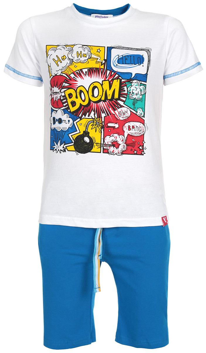 Комплект одежды161074Комплект для мальчика PlayToday, состоящий из футболки и шорт, идеально подойдет вашему ребенку. Изготовленный из эластичного хлопка, он необычайно мягкий и приятный на ощупь, не сковывает движения и позволяет коже дышать, не раздражает даже самую нежную и чувствительную кожу ребенка, обеспечивая ему наибольший комфорт. Футболка с короткими рукавами и круглым вырезом горловины оформлена веселым ярким принтом. Вырез горловины дополнен двойной трикотажной эластичной резинкой. Рукава декорированы контрастной отстрочкой. Шорты удлиненные на талии имеют эластичную резинку с цветным затягивающимся шнурком снаружи, благодаря чему они не сдавливают живот ребенка и не сползают. Шорты украшены имитацией ширинки, а по бокам предусмотрены функциональные прорезные карманы. Оригинальный дизайн и модная расцветка делают этот комплект незаменимым предметом детского гардероба. В нем вашему маленькому мужчине будет комфортно и уютно, и он всегда будет в центре внимания!