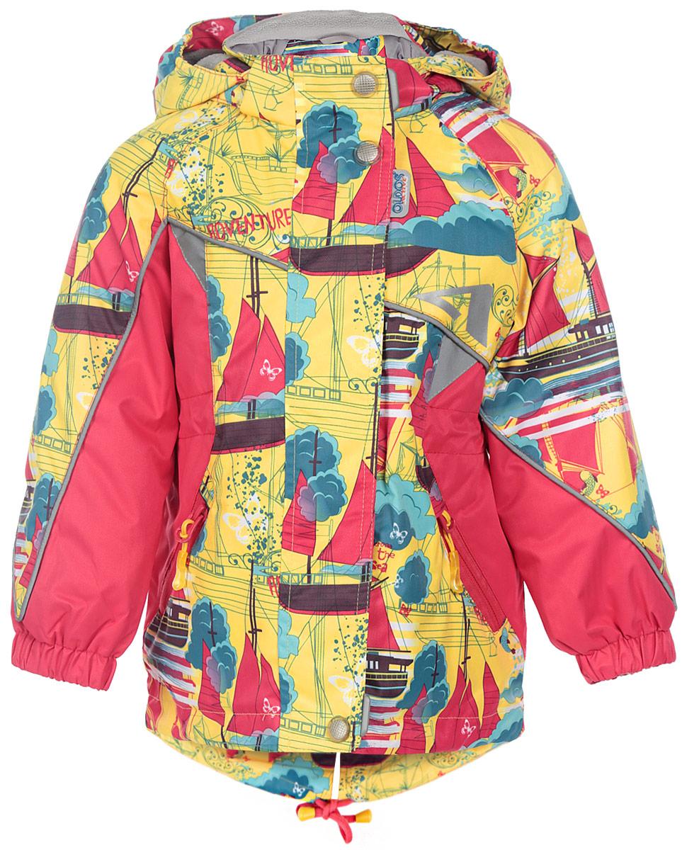 16/OA-3JK404Куртка для девочки Oldos Active Ассоль идеально подойдет для вашего ребенка в холодное время года. Куртка изготовлена из водонепроницаемой и ветрозащитной ткани. Водо- и грязеотталкивающее покрытие Teflon повышает износостойкость модели, что обеспечит ей хороший внешний вид на всем протяжении носки. Благодаря пропитке грязь не проникает в ткань, и ее легко смыть под струей воды или стереть влажной салфеткой. Нанесенная с изнаночной стороны ткани мембрана 3000/3000 позволяет дышать - отводит излишнюю влагу наружу, поддерживая комфортную для тела ребенка атмосферу. Куртка рассчитана на температуру от -5°С до +15°С благодаря утеплителю 80 г/м2. В качестве наполнителя используется полиэстер. Куртка с капюшоном и небольшим воротником-стойкой застегивается на пластиковую застежку-молнию и дополнительно имеет двойную ветрозащитную планку и защиту подбородка. Внешний ветрозащитный клапан на застежках-кнопках и липучках. Подкладка курточки (кроме рукавов) выполнена из теплого мягкого...