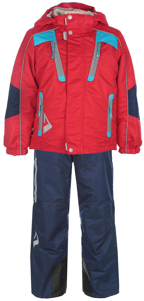 Комплект для мальчика Oldos Амадеус. 16/OA-3SU41416/OA-3SU414-1Теплый комплект для мальчика Oldos Active Амадеус идеально подойдет для вашего ребенка в холодное время года. Комплект состоит из куртки и брюк, изготовленных из водонепроницаемой и ветрозащитной ткани. Водо- и грязеотталкивающее покрытие повышает износостойкость модели, что обеспечит ей хороший внешний вид на всем протяжении носки. Благодаря пропитке грязь не проникает в ткань, и ее легко смыть под струей воды или стереть влажной салфеткой. Куртка содержит утеплитель 80 г/м2, что позволяет носить комплект при температуре от -5°С до +10°С. Куртка с капюшоном и небольшим воротником-стойкой застегивается на пластиковую застежку-молнию и дополнительно имеет двойную ветрозащитную планку с защитой подбородка. Внешний ветрозащитный клапан на застежках-кнопках и липучках. Подкладка курточки (кроме рукавов) выполнена из теплого мягкого флиса. Капюшон, присборенный по бокам на резинки, пристегивается с помощью застежки-молнии и застежек-кнопок. Для большего комфорта на подкладках...