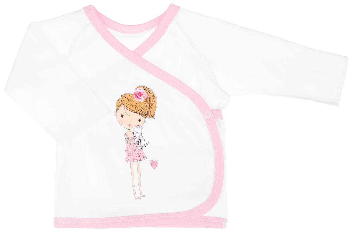 Распашонка4163Распашонка-кимоно для девочки КотМарКот послужит идеальным дополнением к гардеробу вашей крохи, обеспечивая ей наибольший комфорт. Распашонка, выполненная швами наружу, изготовлена из натурального хлопка - интерлока, благодаря чему она необычайно мягкая и легкая, не раздражает нежную кожу ребенка и хорошо вентилируется, а эластичные швы приятны телу младенца и не препятствуют его движениям. Распашонка-кимоно с длинными рукавами-реглан оформлена изображением очаровательной девочки с собачкой на руках, дополнена блёстками. Благодаря системе застежек-кнопок по принципу кимоно модель можно полностью расстегнуть. Распашонка полностью соответствует особенностям жизни ребенка в ранний период, не стесняя и не ограничивая его в движениях. В ней ваша малышка всегда будет в центре внимания.