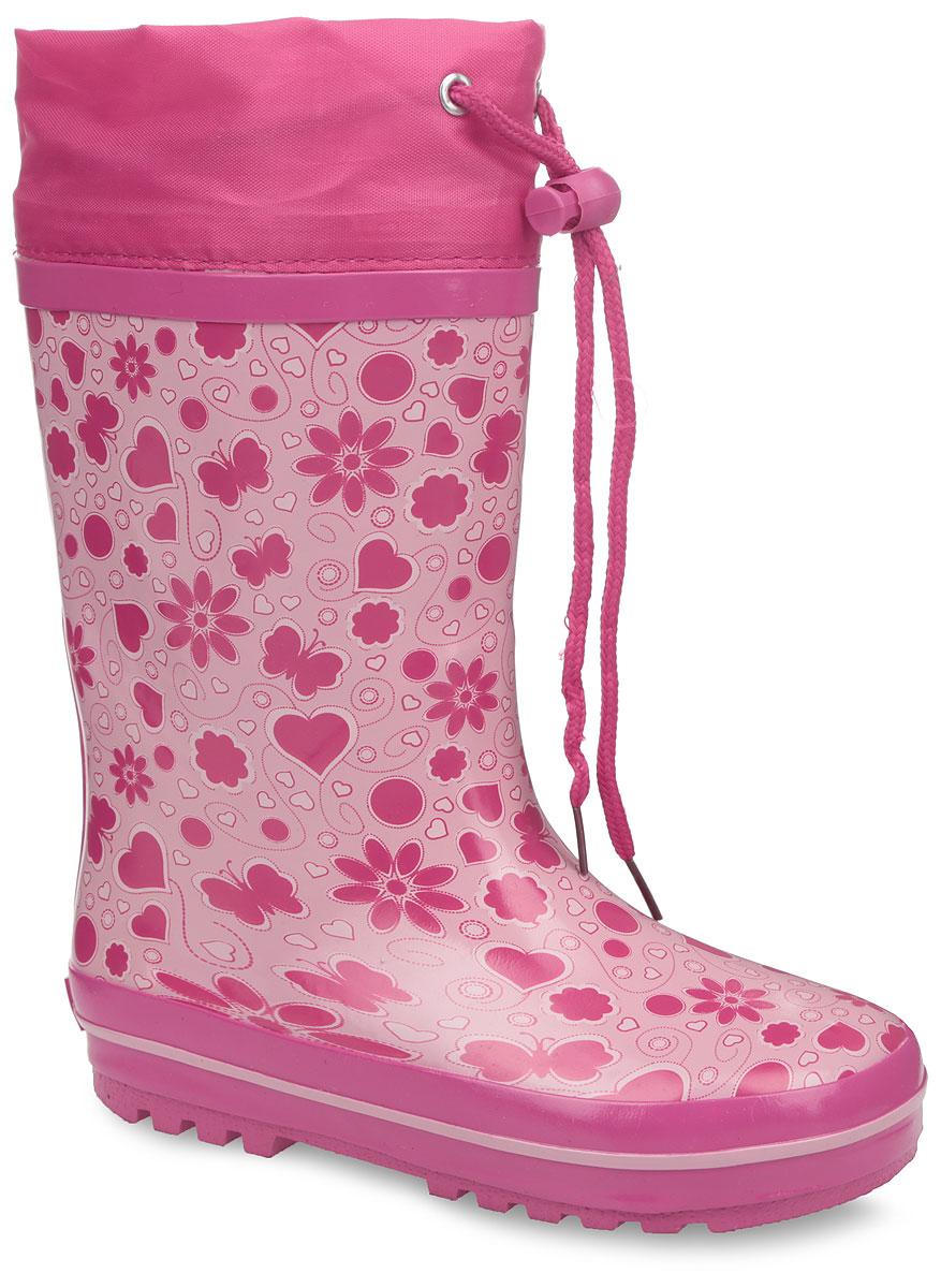 Сапоги резиновые для девочки. 10678-910678-9Утепленные резиновые сапоги от Зебра - идеальная обувь в холодную дождливую погоду для вашей дочурки. Модель, выполненная из качественной резины, оформлена по верху принтом в виде бабочек, цветов и сердец, в области пятки - логотипом бренда. Текстильный верх голенища регулируется в объеме за счет шнурка с фиксатором. Подкладка из искусственного меха, подарит ощущение комфорта и тепла вашему ребенку. Съемная стелька из EVA с поверхностью из текстиля комфортна при движении. Подошва с протектором обеспечивает сцепление с любыми поверхностями. Резиновые сапожки - незаменимая вещь в дождливую погоду!