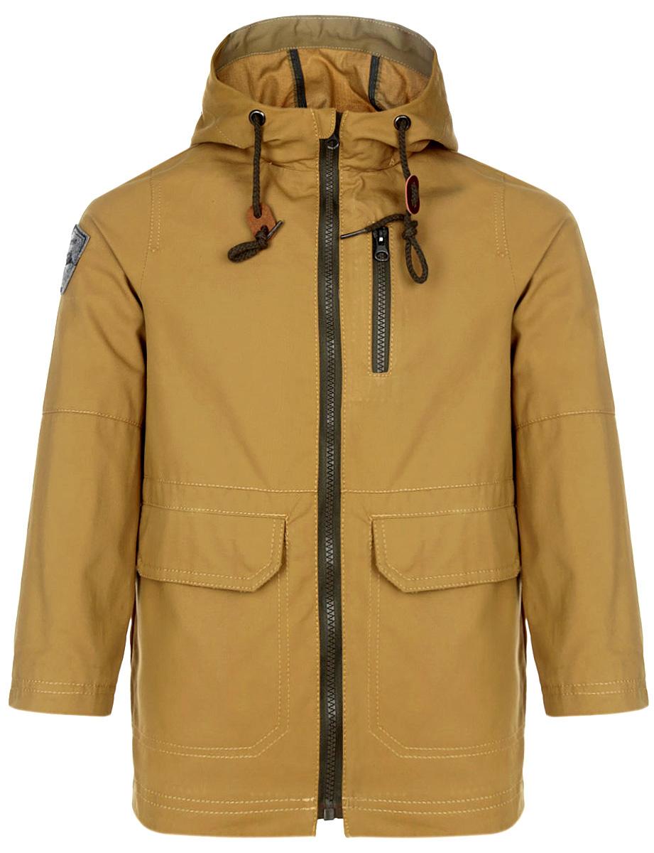 Куртка для мальчика. 63581_BOB63581_BOB_вариант 2Стильная куртка для мальчика Boom!, изготовленная из натурального хлопка, станет отличным дополнением к детскому гардеробу. Материал изделия приятный на ощупь, позволяет коже дышать, легко стирается, быстро сушится. Подкладка выполнена из натурального хлопка. Куртка с несъемным капюшоном застегивается на пластиковую застежку-молнию с защитой подбородка. Капюшон по краю дополнен затягивающимся шнурком со стопперами. Низ рукавов можно регулировать по ширине с помощью кнопок. Спереди расположены два накладных кармана с клапанами на кнопках, один прорезной карман на застежке-молнии. Сзади куртки предусмотрен небольшой разрез снизу. Оформлено изделие нашивкой с логотипом фирмы. Легкая, удобная и практичная куртка идеально подойдет для прогулок и игр на свежем воздухе!