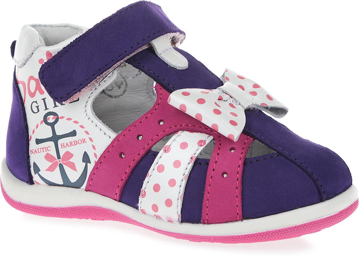 Сандалии7-806121601Чудесные сандалии от Elegami не оставят равнодушной вашу девочку! Модель, изготовленная из натуральной кожи и нубука, оформлена перфорацией, принтом в горох, сбоку - изображением якорей, на подъеме - бантиком. Ремешок с застежкой-липучкой на щиколотке прочно закрепит обувь на ножке. Внутренняя поверхность из натуральной кожи и стелька из EVA-материала с поверхностью из натуральной кожи комфортны при движении. Стелька дополнена супинатором с перфорацией, который обеспечивает правильное положение ноги ребенка при ходьбе, предотвращает плоскостопие. Перфорация на стельке позволяет ногам дышать. Рифление на подошве обеспечивает отличное сцепление с любой поверхностью. Такие сандалии займут достойное место в гардеробе вашей девочки.