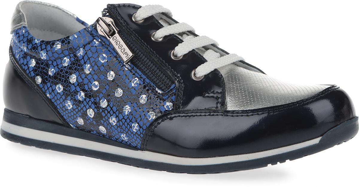 5-518681601Модные полуботинки от Elegami не оставят равнодушной вашу девочку! Модель, выполненная из натуральной кожи, дополнена вставками из натуральной лакированной кожи и оформлена тиснением, по бокам - оригинальным принтом. Шнуровка обеспечивает надежную фиксацию обуви на ноге. Боковая застежка-молния позволяет легко снимать и обувать модель. Внутренняя поверхность из натуральной кожи и стелька из EVA-материала с поверхностью из натуральной кожи комфортны при движении. Стелька дополнена супинатором с перфорацией, который обеспечивает правильное положение ноги ребенка при ходьбе, предотвращает плоскостопие. Перфорация на стельке позволяет ногам дышать. Протектор на подошве и на каблуке обеспечивает отличное сцепление с любой поверхностью. Стильные полуботинки - незаменимая вещь в гардеробе вашей девочки.
