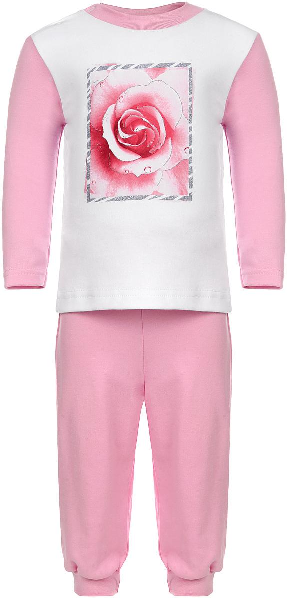 Пижама16163Удобная пижама для девочки КотМарКот, состоящая из футболки с длинным рукавом и брюк, идеально подойдет вашему ребенку. Пижама выполнена из натурального хлопка, она необычайно мягкая и приятная на ощупь, не сковывает движения и позволяет коже дышать, не раздражает даже самую нежную и чувствительную кожу ребенка, обеспечивая ему наибольший комфорт. Футболка с длинными рукавами и круглым вырезом горловины оформлена изображением изящной розочки в блестящей рамке. Футболка на плече застегивается на металлические кнопки, что позволяет с легкостью переодеть ребёнка. Вырез горловины дополнен эластичной резинкой. Брюки прямого кроя на поясе имеют широкую эластичную резинку, благодаря чему они не сдавливают животик ребенка и не сползают. Низ брючин дополнен широкими эластичными манжетами. Пижама станет отличным дополнением к гардеробу маленькой принцессы, в ней ваш ребенок будет чувствовать себя комфортно и уютно во время сна.