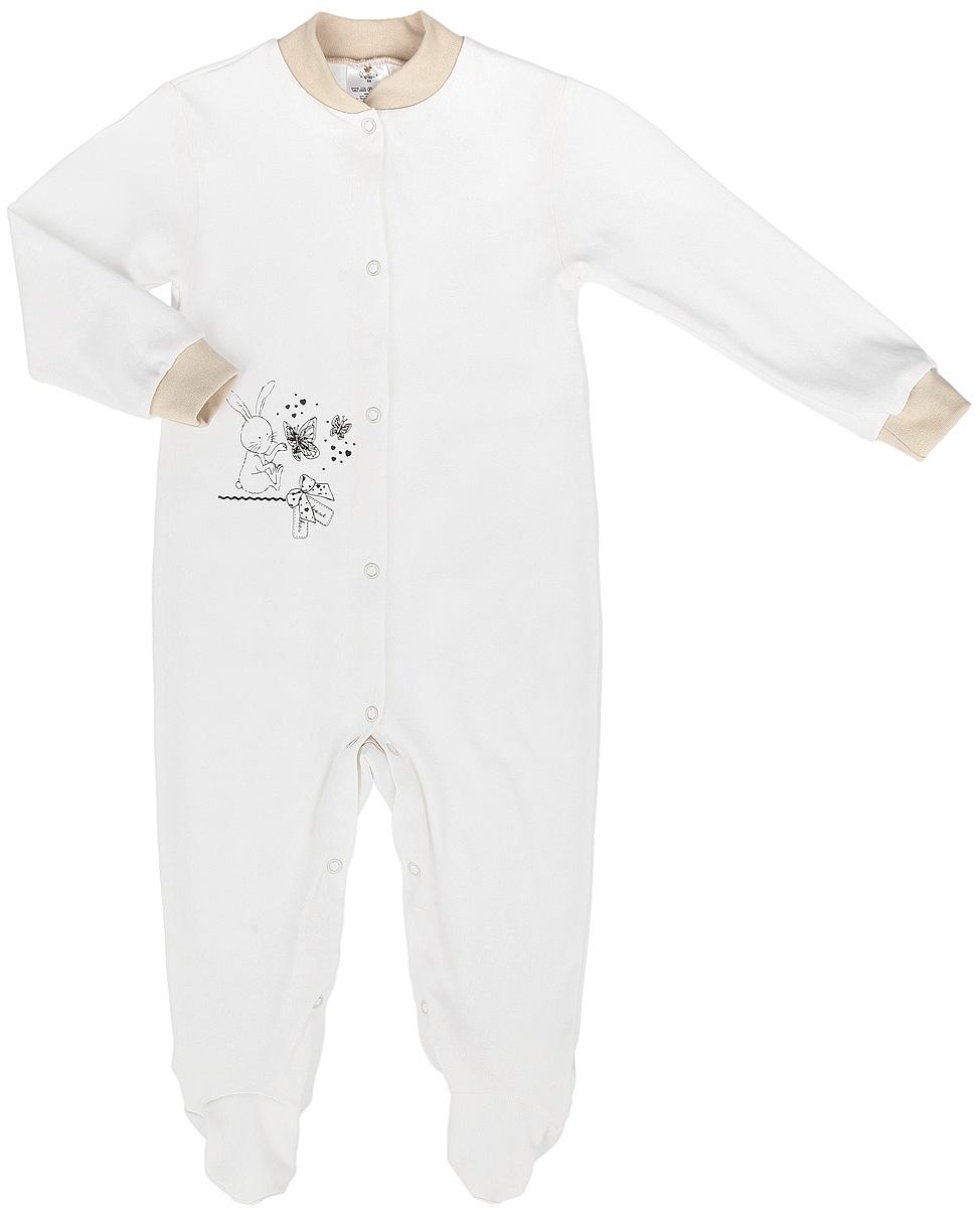Комбинезон детский Зайка с бабочками. 36863686Комбинезон для КотМарКот Зайка с бабочками идеально подойдет вашему ребенку, обеспечивая ему максимальный комфорт. Выполненный из натурального хлопка, он очень мягкий на ощупь, не раздражает даже самую нежную и чувствительную кожу ребенка. Комбинезон с длинными рукавами, круглым вырезом горловины и закрытыми ножками имеет застежки-кнопки от горловины до щиколотки, которые помогают легко переодеть младенца или сменить подгузник. Спереди модель оформлена принтом с изображением зайки с бабочками. В таком комбинезоне спинка и ножки младенца всегда будут в тепле, и кроха будет чувствовать себя комфортно и уютно.