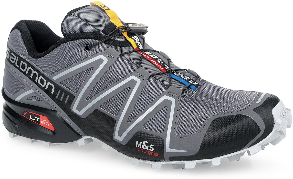 Кроссовки для бега мужские Speedcross 3. 379080/329785329785Легендарные беговые кроссовки от Salomon Speedcross 3 выполнены из высококачественной искусственной кожи и текстиля. Конструкция верха Sensifit с пропиткой Mudguard не пропускает грязь и воду. Подъем оформлен шнуровкой с фиксатором, благодаря которой обувь сидит плотно на ноге, и дополнен кармашком для шнурков. Стелька Ortholite из ЭВА материала с текстильным верхним покрытием создает более прохладное и сухое пространство под стопой. Мягкая верхняя часть и подкладка, изготовленная из текстиля, обеспечивают дополнительный комфорт и предотвращают натирание. По бокам модель декорирована оригинальным принтом и тиснением, язычок дополнен текстильной нашивкой с символикой бренда. Светоотражающие элементы обеспечат лучшую видимость в темное время суток. Подошва Contagrip не оставляет следов и обеспечивает отличное сцепление со скользкой поверхностью. Такие кроссовки займут достойное место в коллекции вашей спортивной обуви.