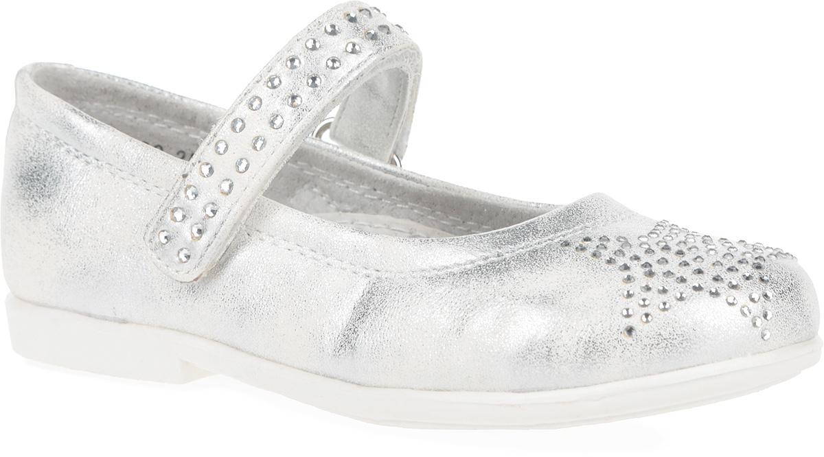 Туфли для девочки. 162220162220Восхитительные туфли от PlayToday придутся по душе вашей юной моднице! Модель на невысоком широком каблучке изготовлена из искусственной кожи с напылением. Ремешок на застежке-липучке, усеянный стразами, предназначен лучшей фиксации обуви на ноге. Подкладка и стелька с супинатором из натуральной кожи, обеспечивающая правильное формирование стопы, гарантируют дополнительный комфорт и предотвращают натирание. Мысок декорирован аппликацией в виде звезды из стразов. Подошва оснащена рифлением для лучшего сцепления с поверхностью. Чудесные туфли займут достойное место в гардеробе вашего ребенка.