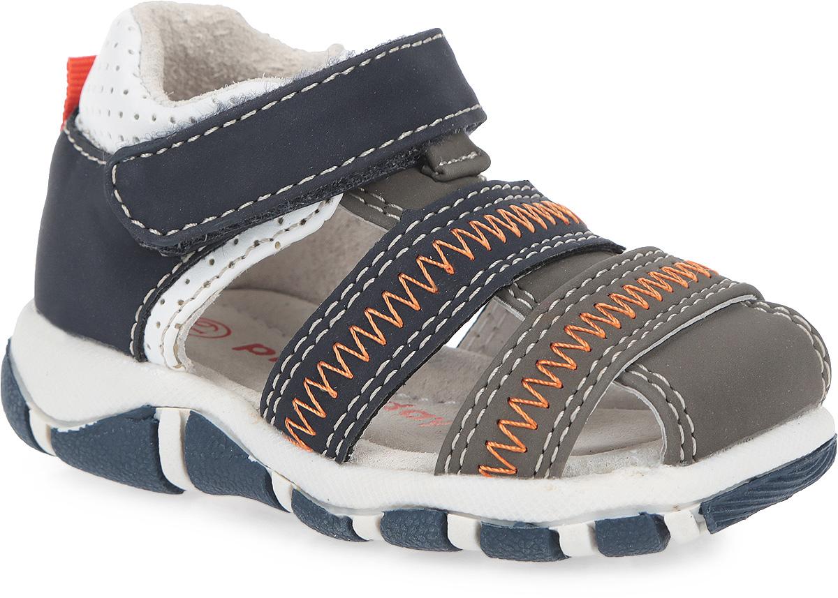 Сандалии для мальчика. 167216167216Стильные сандалии от PlayToday покорят вашего мальчика с первого взгляда. Модель выполнена из искусственного нубука и дополнена вставками из искусственной кожи с легкой перфорацией. Подъем оформлен зигзагообразной прострочкой. Полужесткий закрытый задник и ремешок на застежке-липучке надежно фиксируют ножку ребенка, не давая ей смещаться из стороны в сторону и назад. Мягкая верхняя часть и подкладка, изготовленная из натуральной кожи, гарантируют комфорт и предотвращают натирание. Кожаная стелька с супинатором обеспечивает правильное положение ноги ребенка при ходьбе. Задник дополнен наружным текстильным ремешком и ярлычком. Подошва оснащена рифлением для лучшей сцепки с поверхностью. Такие сандалии подойдут для прогулок в жаркую погоду!