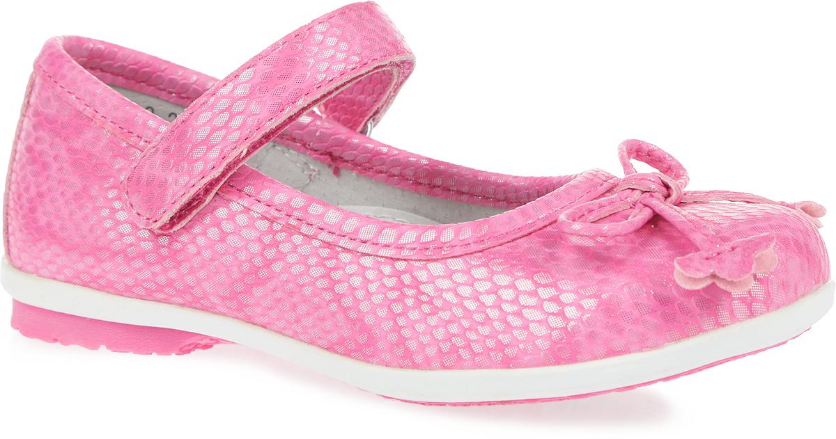 Туфли для девочки. 162218162218Восхитительные туфли от PlayToday придутся по душе вашей юной моднице! Модель на невысоком широком каблучке изготовлена из искусственной кожи с блестящей поверхностью и оформлена тиснением, имитирующим змеиную кожу. Мысок декорирован милым бантиком. Ремешок на застежке-липучке предназначен лучшей фиксации обуви на ноге. Подкладка и стелька с супинатором из натуральной кожи, обеспечивающая правильное формирование стопы, гарантируют дополнительный комфорт и предотвращают натирание. Подошва оснащена рифлением для лучшей сцепки с поверхностью. Чудесные туфли займут достойное место в гардеробе вашего ребенка.