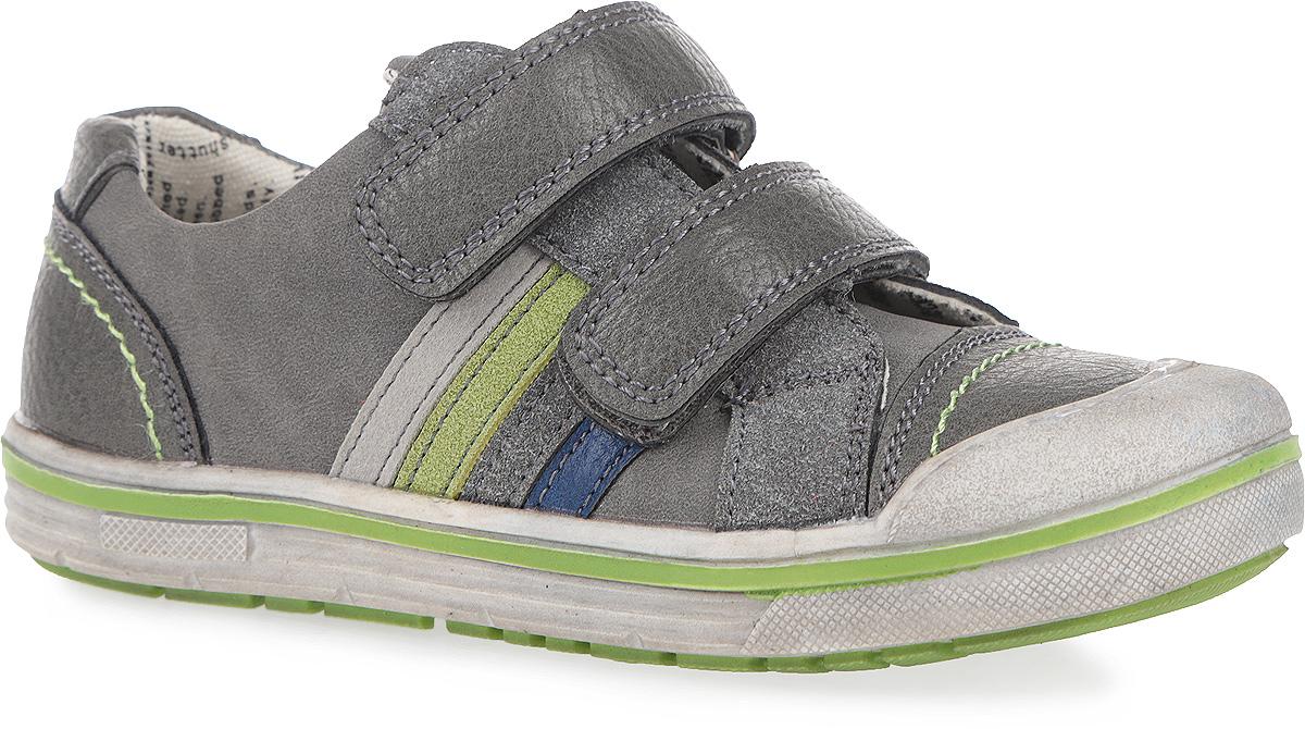 161212Стильные кеды от PlayToday подойдут вашему ребенку для активного отдыха и повседневной носки. Модель выполнена из комбинации искусственной кожи и искусственных материалов. Полужесткий задник и ремешки на застежке-липучке гарантируют надежную фиксацию обуви на ноге. Мягкая верхняя часть и подкладка с принтом под газету, состоящая на 80 % из хлопка, обеспечивают дополнительный комфорт и предотвращают натирание. Стелька с супинатором из ЭВА материала с верхним покрытием из кожи позволяет коже дышать и обеспечивает правильное формирование стопы. Накладка на мыске для дополнительной защиты пальцев. Сбоку кеды дополнены четырьмя нашивками в виде цветных полос. Гибкая подошва оснащена рифлением для лучшего сцепления с поверхностью. В таких кедах ногам вашего непоседы будет комфортно и уютно!