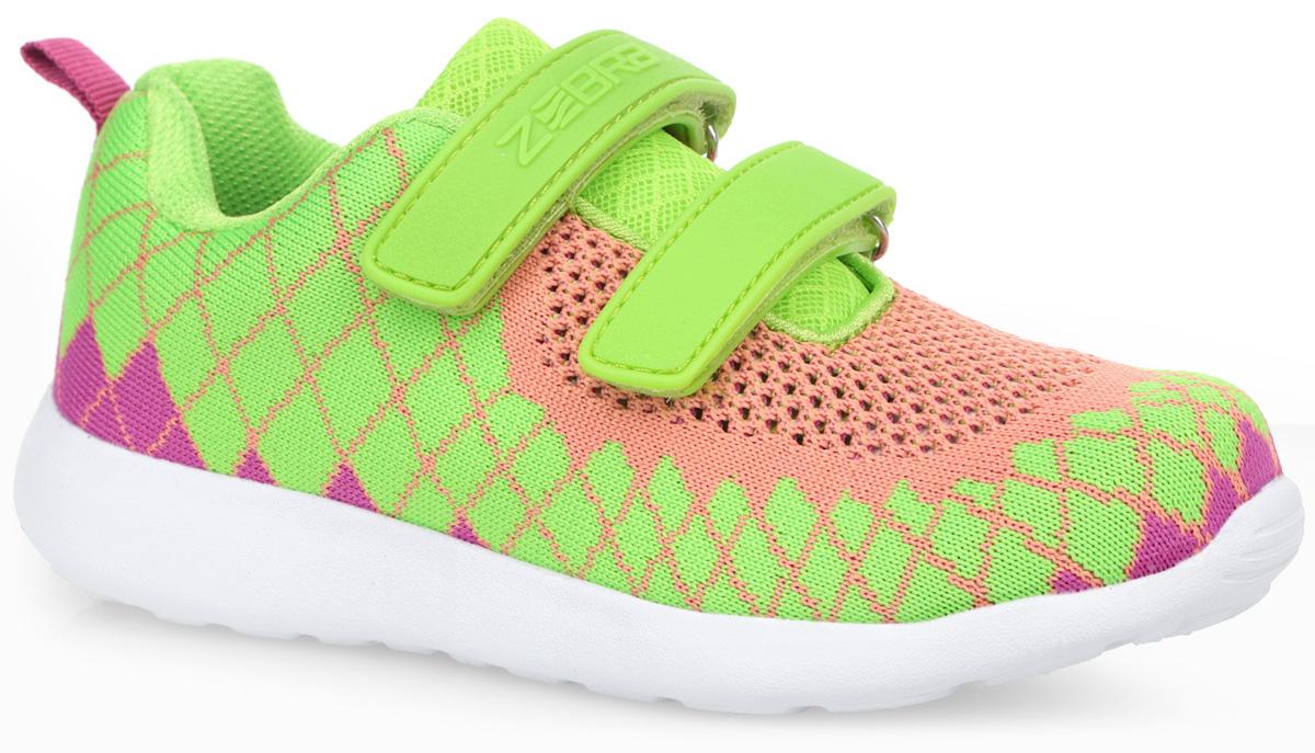 Кроссовки для девочки. 101210126-11Модные кроссовки от Зебра очаруют вашу девочку с первого взгляда! Модель изготовлена из дышащего текстиля. Прорезиненные ремешки с застежками-липучками, один из которых оформлен названием бренда, надежно зафиксируют модель на ноге. Внутренняя поверхность из текстиля комфортна при движении. Стелька EVA с поверхностью из натуральной кожи разработана с учетом анатомических особенностей строения детской ноги. Анатомическая профилированная стелька с супинатором способствует правильному формированию скелета и анатомических сводов детской стопы, правильной установке пятки ребенка, предотвращая плоскостопие. Стелька обладает хорошей гибкостью и высокими амортизационными свойствами, снижает общую усталость ног, уменьшает нагрузку на позвоночник, делает ходьбу ребенка легкой, приятной и комфортной. Ярлычок на заднике облегчает обувание модели. Рифление на подошве гарантирует отличное сцепление с любыми поверхностями. Стильные кроссовки займут достойное место в гардеробе вашей девочки.