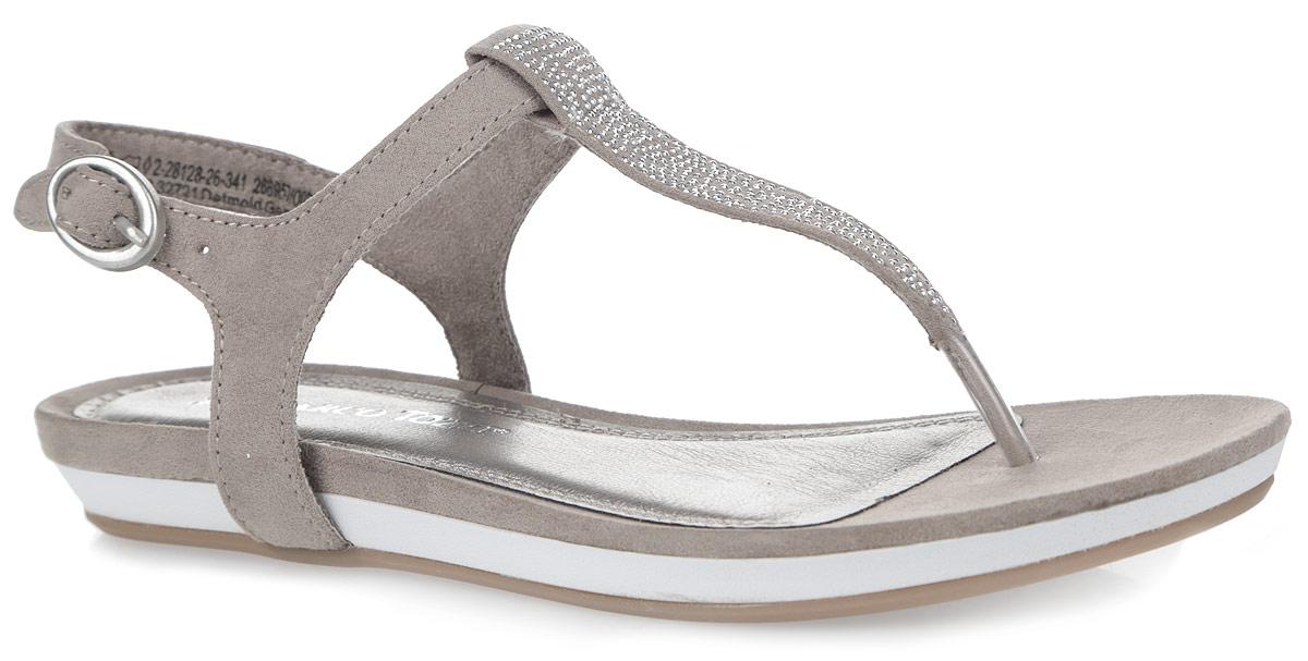 2-2-28128-26-341Стильные женские сандалии от Marco Tozzi заинтересуют вас своим дизайном. Модель изготовлена из текстиля. Ремешок на подъеме оформлен металлическими стразами. Ремешок с металлической овальной пряжкой прочно зафиксирует изделие на ноге. Мягкая стелька из искусственной кожи и текстиля комфортна при ходьбе. Подошва с рифлением обеспечивает отличное сцепление с поверхностью. Модные сандалии внесут изюминку в ваш модный образ.