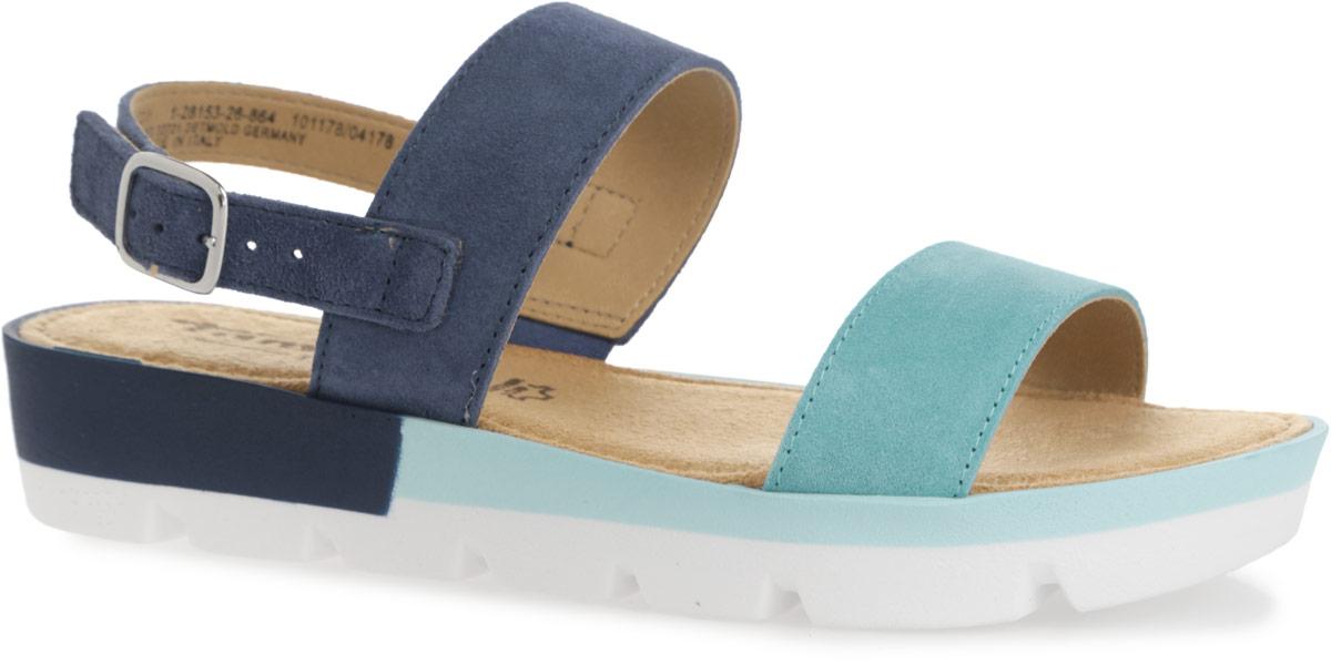 Сандалии женские. 1-1-28153-261-1-28153-26-001Стильные сандалии от Tamaris отлично дополнят ваш модный образ. Модель выполнена из натуральной высококачественной кожи. Ремешок с металлической пряжкой надежно зафиксирует обувь на вашей щиколотке. Длина ремешка регулируется за счет болта. Мягкая текстильная стелька комфортна при движении. Подошва с глубоким протектором обеспечивает отличное сцепление с поверхностью. Модные и практичные сандалии - необходимая вещь в гардеробе каждой женщины.
