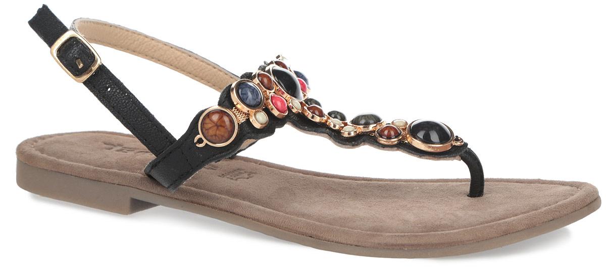 Сандалии женские. 1-1-28135-26-0981-1-28135-26-098Шикарные женские сандалии от Tamaris заинтересуют вас своим дизайном. Модель изготовлена из высококачественной натуральной кожи. Ремешок на подъеме оформлен металлической цепочкой с декоративными элементами, украшенными стразом и искусственными камнями. Стелька из натуральной кожи комфортна при ходьбе. Ремешок с металлической пряжкой прочно зафиксирует модель на вашей ноге. Подошва с рифлением обеспечивает отличное сцепление с поверхностью. Яркие сандалии внесут изюминку в ваш модный образ.