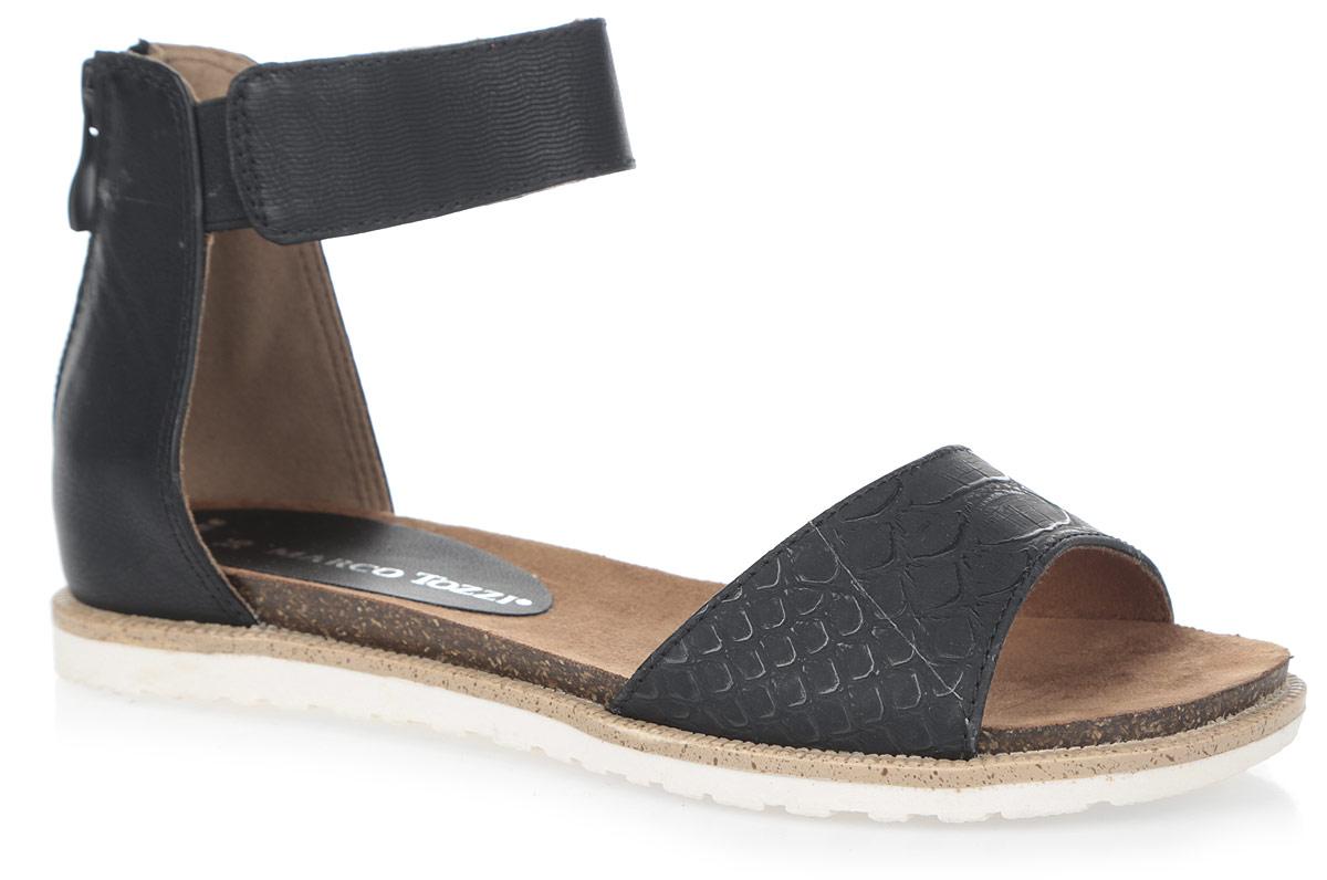 2-2-28400-26-096Эффектные сандалии от Marco Tozzi не оставят равнодушной настоящую модницу! Модель выполнена из искусственной кожи. Закрытый задник с застежкой-молнией и ремешки отвечают за надежную фиксацию изделия на ноге. Ремешок на щиколотке, украшенный тиснением в виде волнообразных полос, дополнен резинками. Ремешок на мысе декорирован тиснением под рептилию. Мягкая стелька, оформленная названием бренда, комфортна при движении. Подошва с рифлением обеспечивает отличное сцепление с любыми поверхностями. Стильные сандалии позволят вам выделиться среди окружающих.