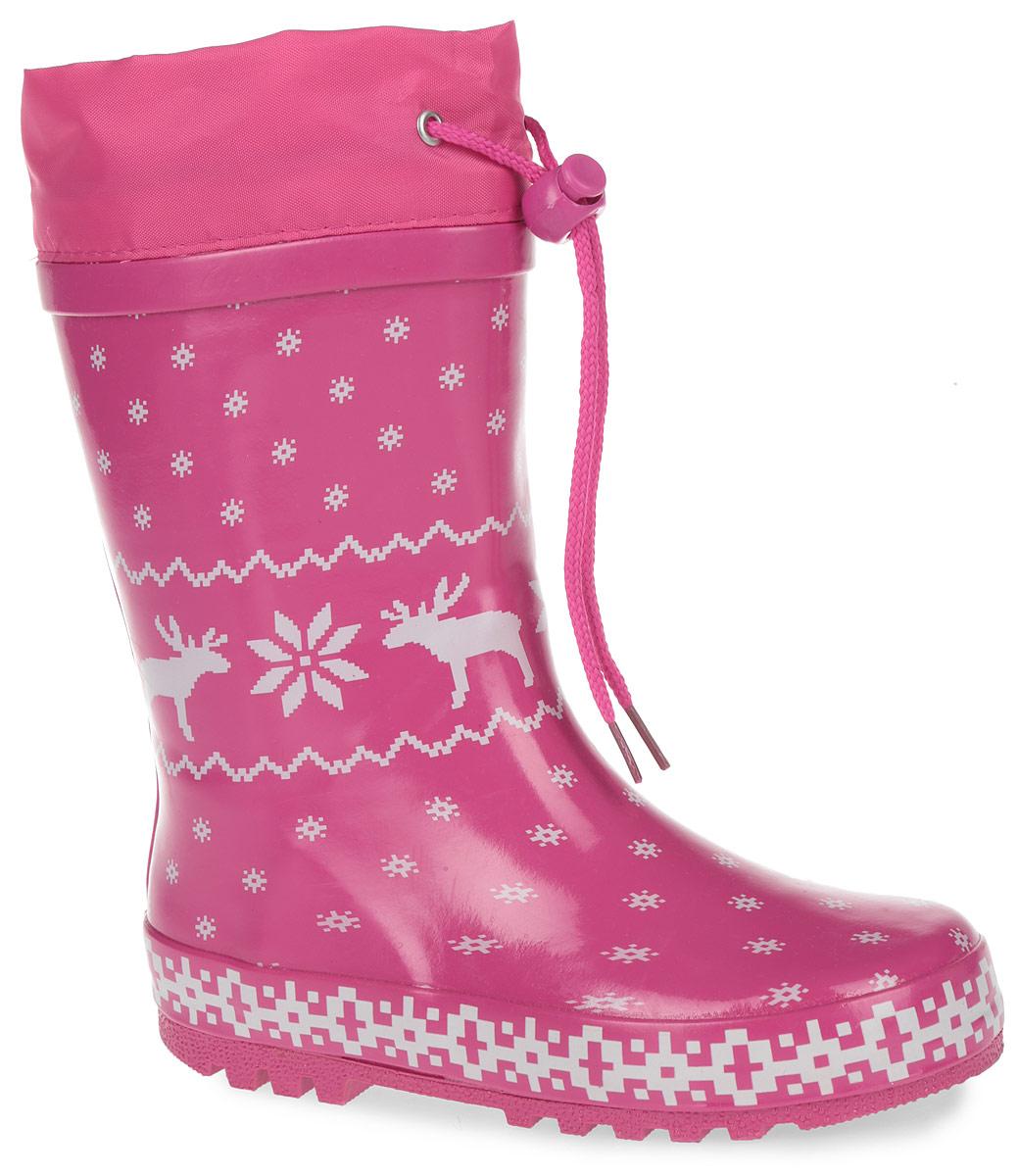 Сапоги резиновые для девочки. 100410100410Яркие резиновые сапоги от Mursu - идеальная обувь в дождливую погоду для вашей девочки. Сапоги выполнены из резины и оформлены оригинальным принтом. Внутренняя поверхность из хлопка и съемная стелька EVA с текстильной поверхностью при движении. Текстильный верх голенища регулируется в объеме за счет шнурка со стоппером. Протектор подошвы гарантирует отличное сцепление с любой поверхностью. Резиновые сапоги не только защитят ноги вашей девочки от промокания в дождливый день, но и поднимут ей настроение.