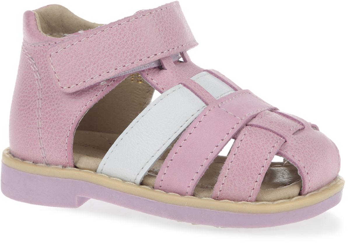 Сандалии для девочки. 10461-910461-9Замечательные сандалии от Зебра придутся по душе вашей девочке. Модель, выполненная из натуральной кожи, оформлена крупной прострочкой вдоль ранта. Внутренняя поверхность и стелька из натуральной кожи комфортны при ходьбе. Стелька дополнена супинатором с перфорацией, который обеспечивает правильное положение ноги ребенка при ходьбе и предотвращает плоскостопие. Ремешок с застежкой-липучкой позволяет прочно зафиксировать ножку ребенка. Ортопедический каблук Томаса укрепляет подошву под средней частью стопы и препятствует ее заваливанию внутрь. Подошва с рифлением обеспечивает идеальное сцепление с любыми поверхностями. Такие сандалии подойдут для прогулок в жаркую погоду!