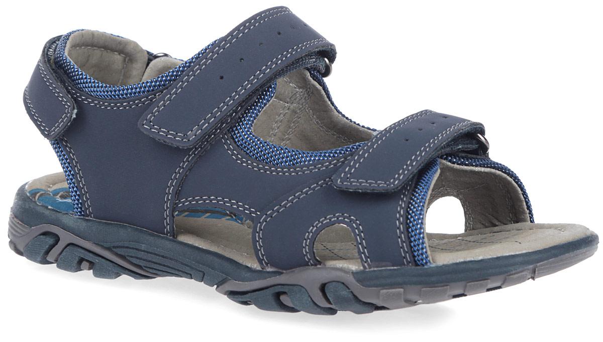 Сандалии для мальчика. 163206163206Стильные сандалии для мальчика от Scool прекрасно подойдут вашему ребенку для активного отдыха и повседневной носки. Модель выполнена из искусственного нубука и дополнена по ранту текстильной вставкой. Ремешки на застежке-липучке на подъеме и в области пятки закрепят модель на ножке. Стелька с супинатором, обеспечивающая правильное формирование стопы, и подкладка изготовлены из натуральной кожи, благодаря чему обувь дышит, гарантируя идеальный микроклимат. Ремешки на подъеме оформлены легкой перфорацией. Подошва оснащена рифлением для лучшей сцепки с поверхностью. В таких сандалиях ногам вашего непоседы будет комфортно и уютно!