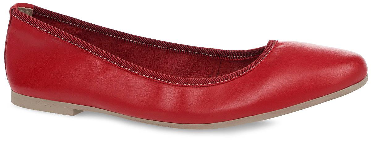 Балетки. 1-1-22128-26-5001-1-22128-26-500Классические балетки от Tamaris придутся вам по душе. Модель с округлым мысом выполнена из натуральной кожи и дополнена по канту текстильной резинкой для лучшего прилегания к ноге. Кожаная стелька позволяет ногам дышать. Подошва с рифлением гарантирует идеальное сцепление с любой поверхностью. Стильные балетки отлично впишутся в ваш повседневный гардероб и подчеркнут вашу индивидуальность!